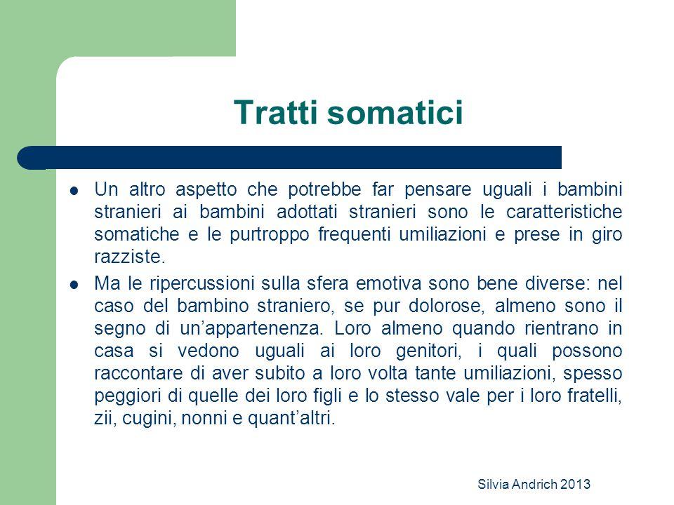 Silvia Andrich 2013 Tratti somatici Un altro aspetto che potrebbe far pensare uguali i bambini stranieri ai bambini adottati stranieri sono le caratteristiche somatiche e le purtroppo frequenti umiliazioni e prese in giro razziste.