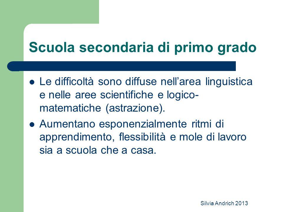 Silvia Andrich 2013 Scuola secondaria di primo grado Le difficoltà sono diffuse nell'area linguistica e nelle aree scientifiche e logico- matematiche (astrazione).