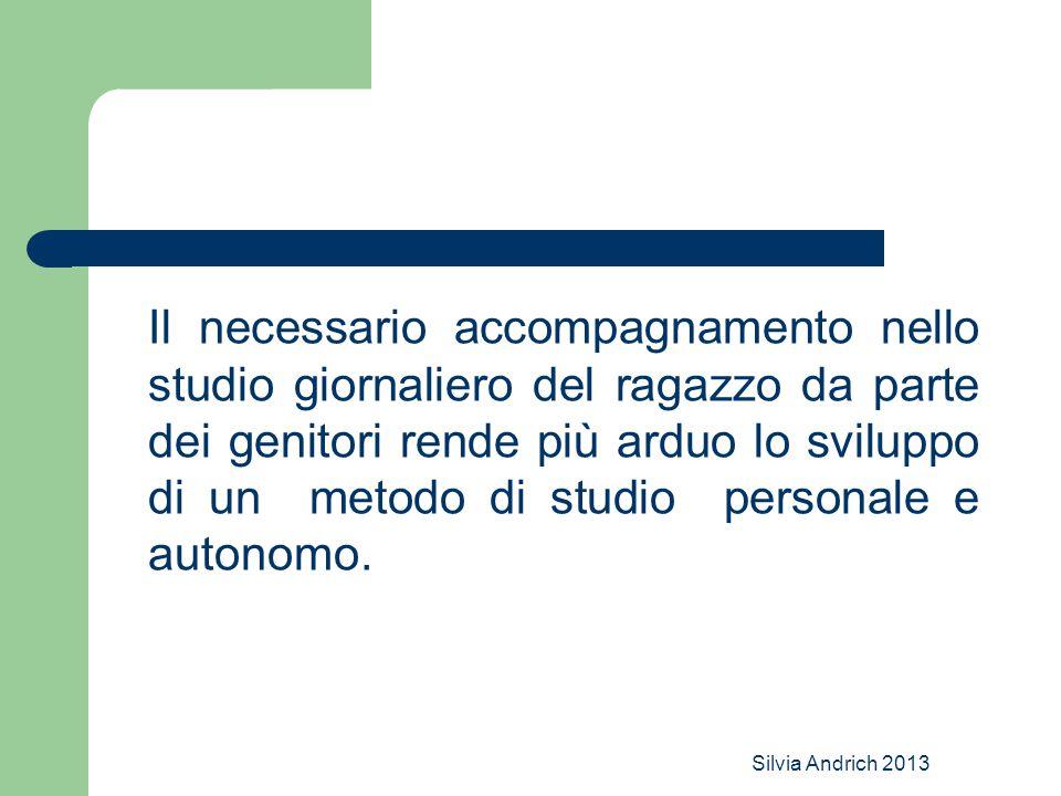 Silvia Andrich 2013 Il necessario accompagnamento nello studio giornaliero del ragazzo da parte dei genitori rende più arduo lo sviluppo di un metodo di studio personale e autonomo.
