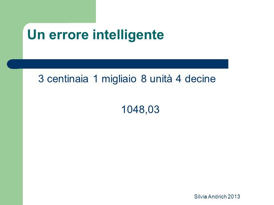 Silvia Andrich 2013 Un errore intelligente 3 centinaia 1 migliaio 8 unità 4 decine 1048,03