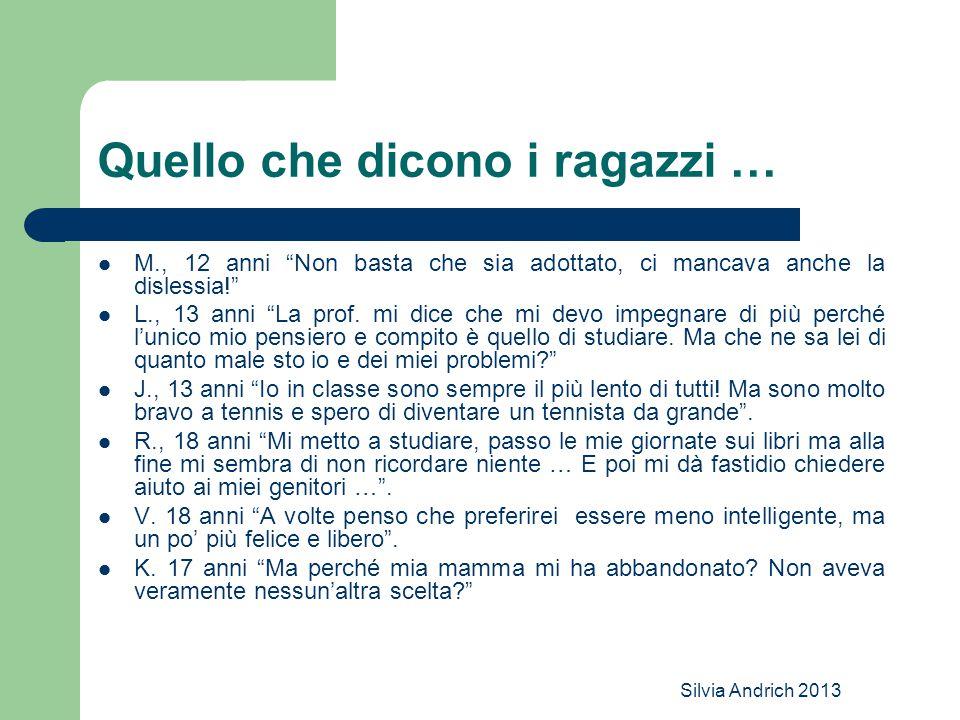 Silvia Andrich 2013 Quello che dicono i ragazzi … M., 12 anni Non basta che sia adottato, ci mancava anche la dislessia! L., 13 anni La prof.