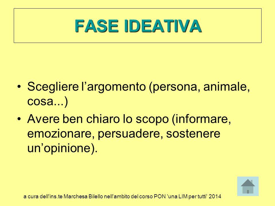 Scegliere l'argomento (persona, animale, cosa...) Avere ben chiaro lo scopo (informare, emozionare, persuadere, sostenere un'opinione). FASE IDEATIVA