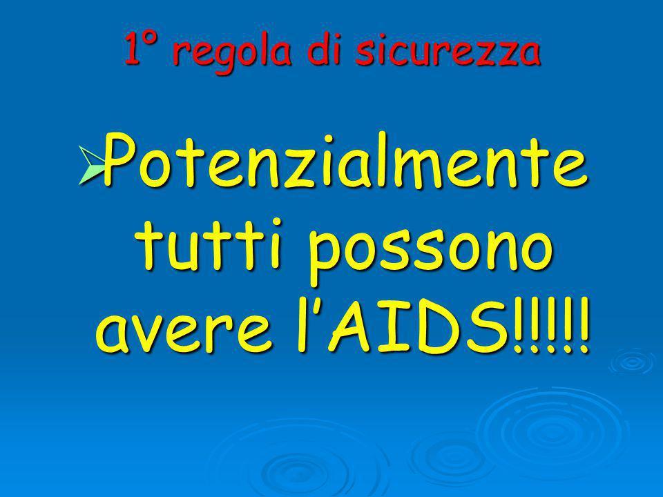 1° regola di sicurezza  Potenzialmente tutti possono avere l'AIDS!!!!!
