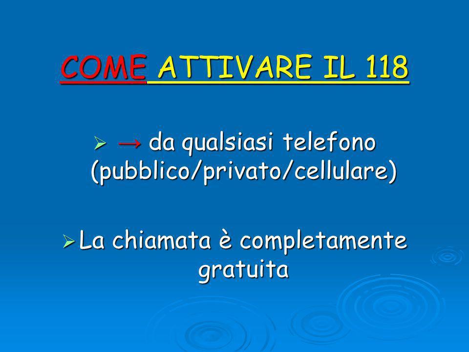 COME ATTIVARE IL 118  → da qualsiasi telefono (pubblico/privato/cellulare)  La chiamata è completamente gratuita