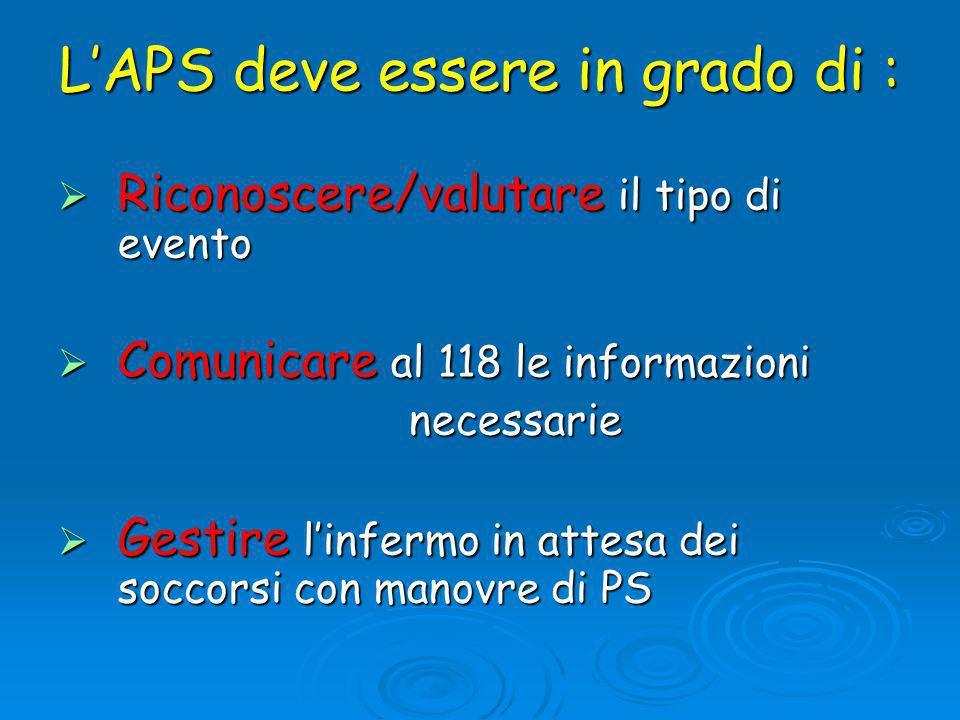 L'APS deve essere in grado di :  Riconoscere/valutare il tipo di evento  Comunicare al 118 le informazioni necessarie necessarie  Gestire l'infermo in attesa dei soccorsi con manovre di PS