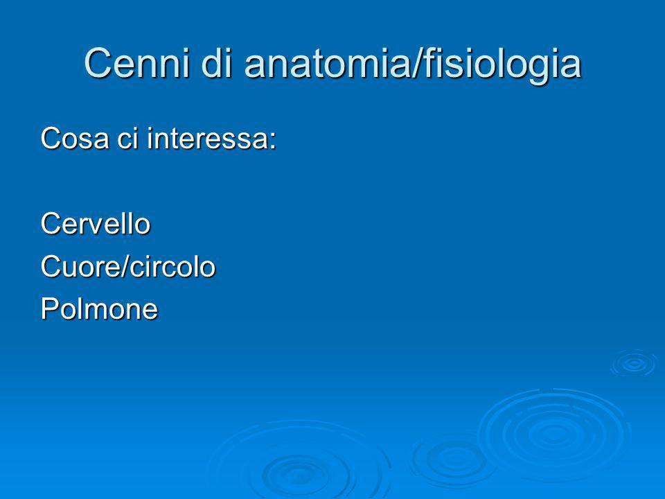 Cenni di anatomia/fisiologia Cosa ci interessa: CervelloCuore/circoloPolmone