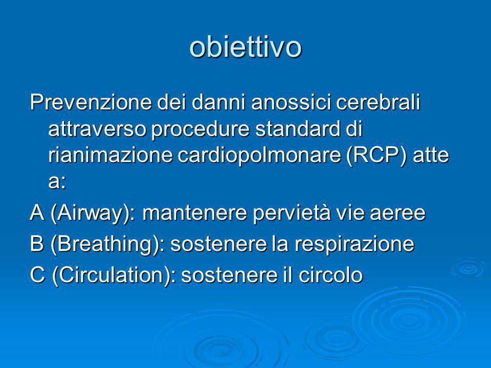 obiettivo Prevenzione dei danni anossici cerebrali attraverso procedure standard di rianimazione cardiopolmonare (RCP) atte a: A (Airway): mantenere pervietà vie aeree B (Breathing): sostenere la respirazione C (Circulation): sostenere il circolo