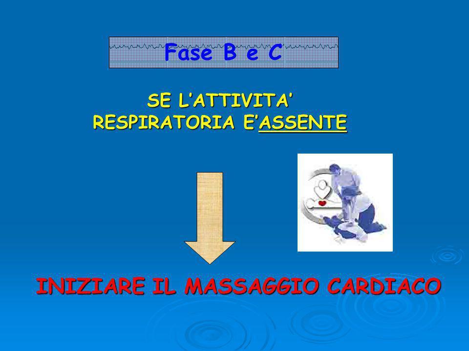 SE L'ATTIVITA' RESPIRATORIA E'ASSENTE INIZIARE IL MASSAGGIO CARDIACO Fase B e C
