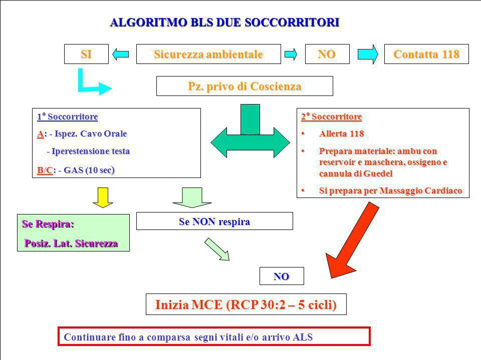 ALGORITMO BLS DUE SOCCORRITORI Sicurezza ambientale NO Contatta 118 Pz.