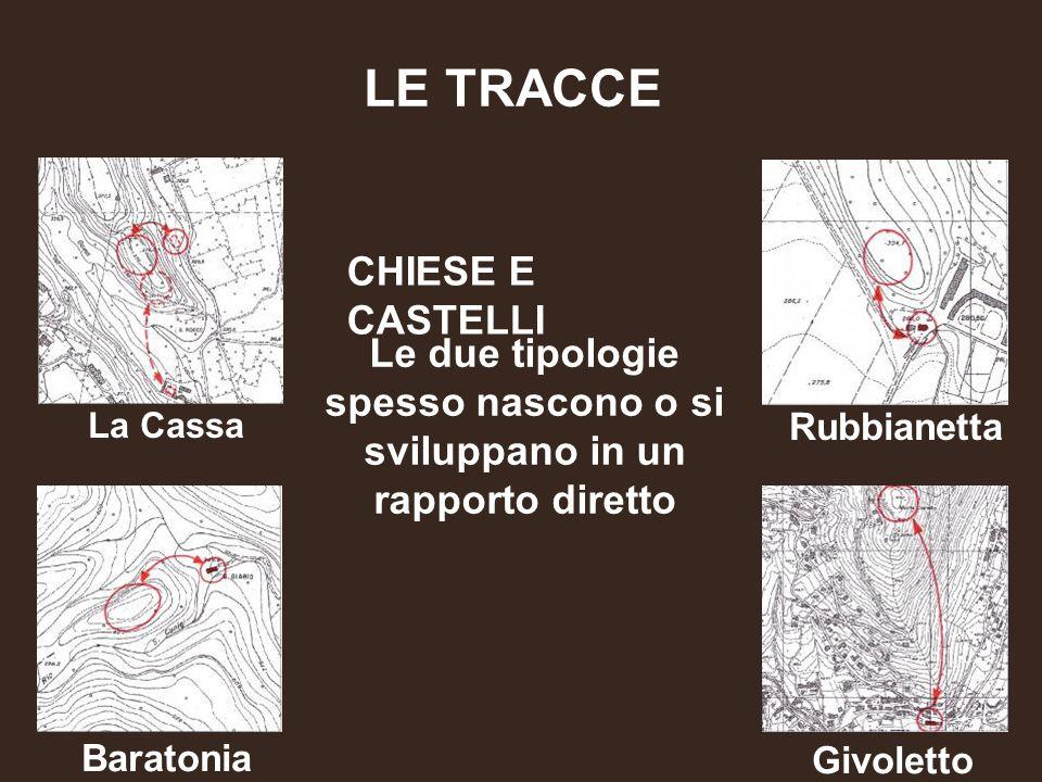 CHIESE E CASTELLI La Cassa FISICHE LE TRACCE Rubbianetta Baratonia Givoletto Le due tipologie spesso nascono o si sviluppano in un rapporto diretto