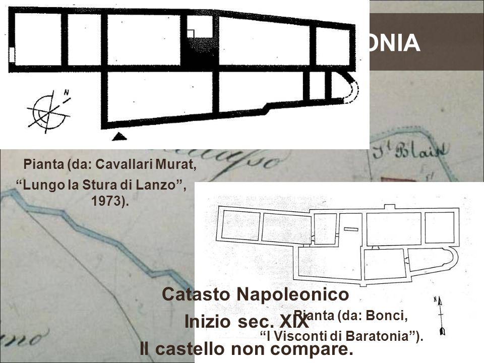 """IL CASTELLO BARATONIA Catasto Napoleonico Inizio sec. XIX Il castello non compare. di Pianta (da: Cavallari Murat, """"Lungo la Stura di Lanzo"""", 1973). P"""