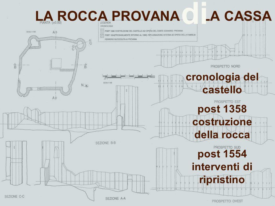 LA ROCCA PROVANA LA CASSA di cronologia del castello post 1358 costruzione della rocca post 1554 interventi di ripristino
