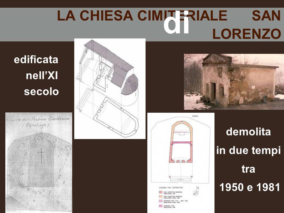 LA CHIESA CIMITERIALE SAN LORENZO edificata nell'XI secolo demolita in due tempi tra 1950 e 1981 di