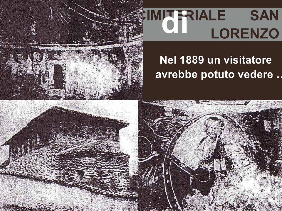 LA CHIESA CIMITERIALE SAN LORENZO Nel 1889 un visitatore avrebbe potuto vedere … di