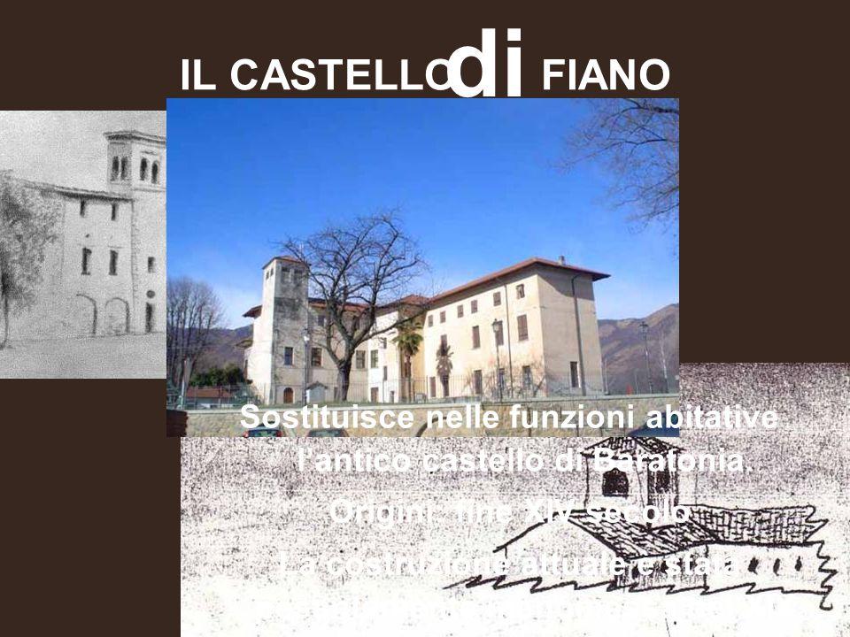 IL CASTELLO FIANO di Sostituisce nelle funzioni abitative l'antico castello di Baratonia. Origini: fine XIV secolo La costruzione attuale è stata pesa