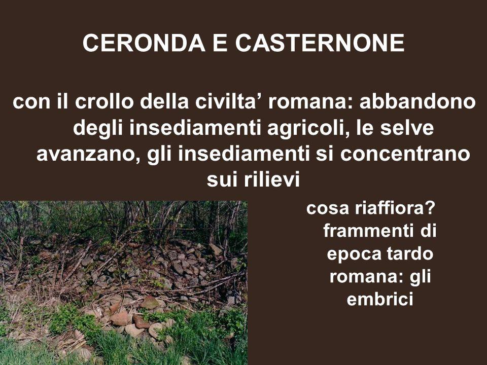 CERONDA E CASTERNONE con il crollo della civilta' romana: abbandono degli insediamenti agricoli, le selve avanzano, gli insediamenti si concentrano su