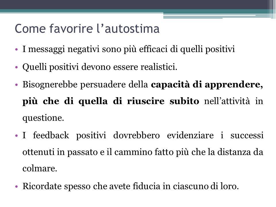 Come favorire l'autostima I messaggi negativi sono più efficaci di quelli positivi Quelli positivi devono essere realistici.