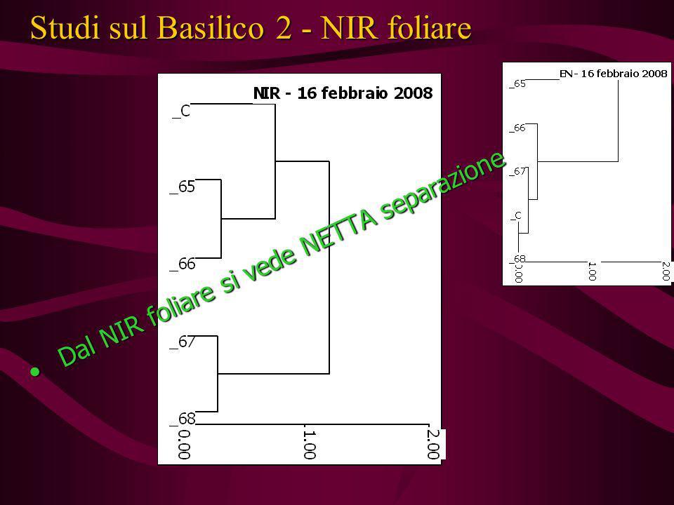 Studi sul Basilico 2 - NIR foliare Dal NIR foliare si vede NETTA separazione Dal NIR foliare si vede NETTA separazione