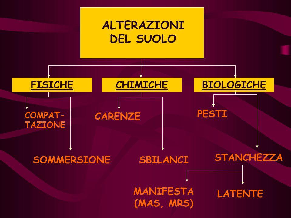 FISICHECHIMICHEBIOLOGICHE COMPAT- TAZIONE SOMMERSIONE CARENZE SBILANCI PESTI STANCHEZZA MANIFESTA (MAS, MRS) LATENTE ALTERAZIONI DEL SUOLO