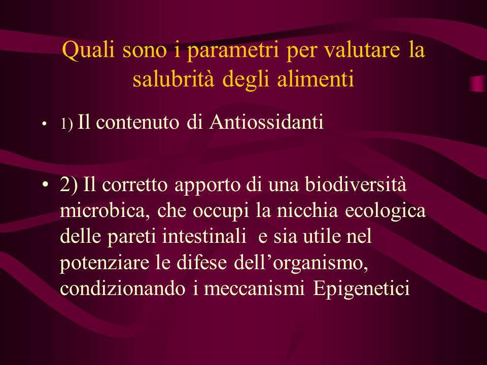 Quali sono i parametri per valutare la salubrità degli alimenti 1) Il contenuto di Antiossidanti 2) Il corretto apporto di una biodiversità microbica,