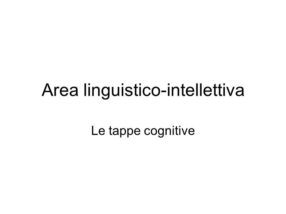 Area linguistico-intellettiva Le tappe cognitive