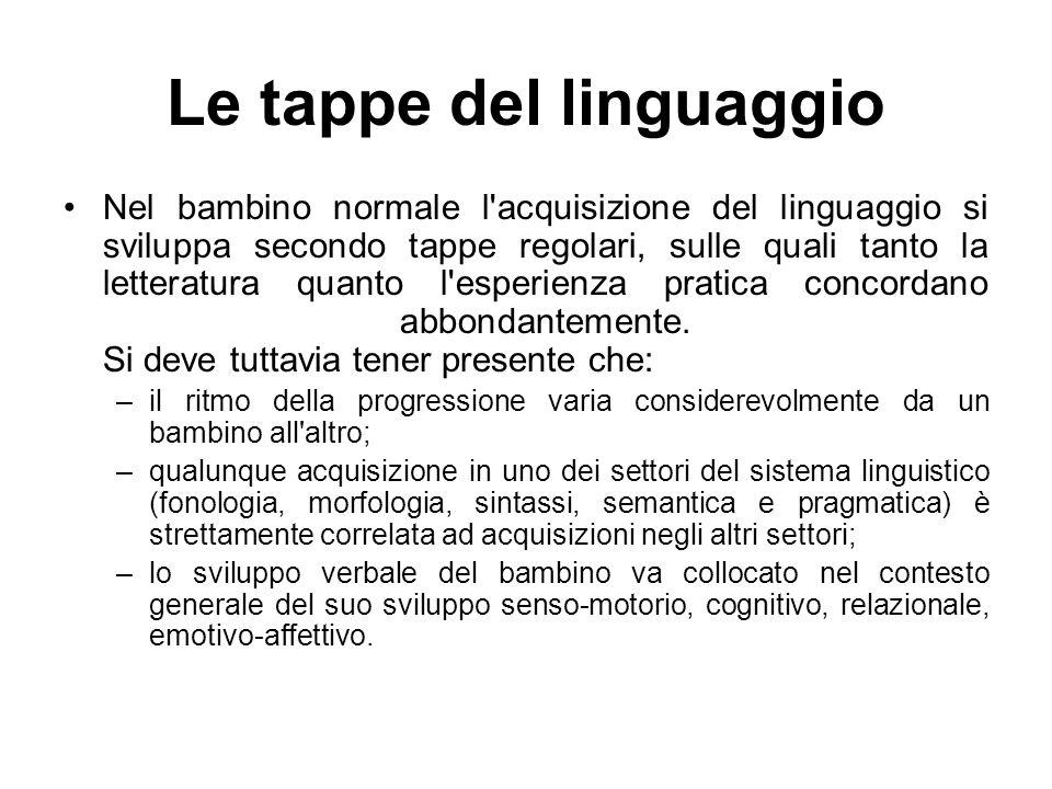 Le tappe del linguaggio Nel bambino normale l'acquisizione del linguaggio si sviluppa secondo tappe regolari, sulle quali tanto la letteratura quanto