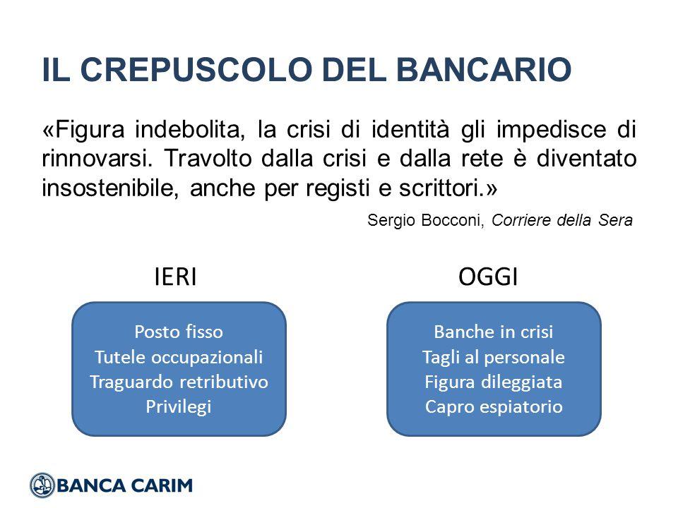 IL CREPUSCOLO DEL BANCARIO «Figura indebolita, la crisi di identità gli impedisce di rinnovarsi.