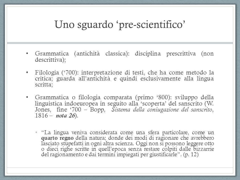 Uno sguardo 'pre-scientifico' Grammatica (antichità classica): disciplina prescrittiva (non descrittiva); Filologia ('700): interpretazione di testi,