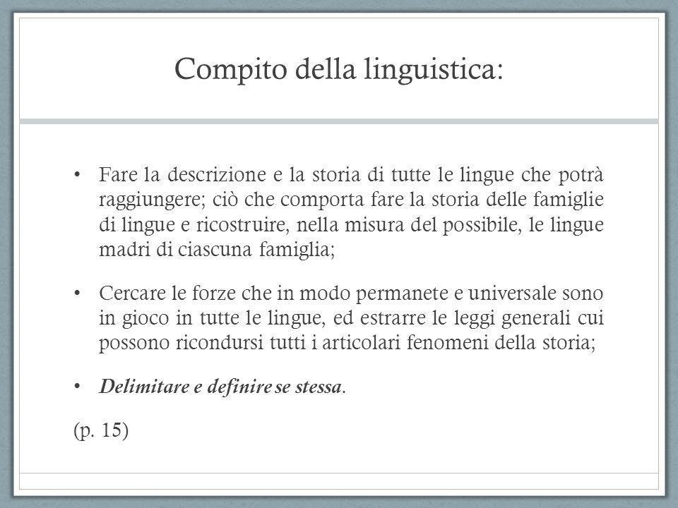 Compito della linguistica: Fare la descrizione e la storia di tutte le lingue che potrà raggiungere; ciò che comporta fare la storia delle famiglie di