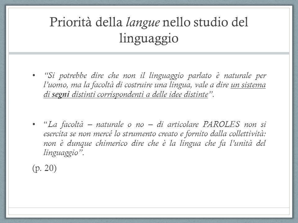 """Priorità della langue nello studio del linguaggio """"Si potrebbe dire che non il linguaggio parlato è naturale per l'uomo, ma la facoltà di costruire un"""