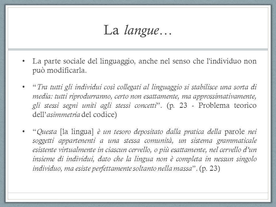 """La langue… La parte sociale del linguaggio, anche nel senso che l'individuo non può modificarla. """" Tra tutti gli individui così collegati al linguaggi"""