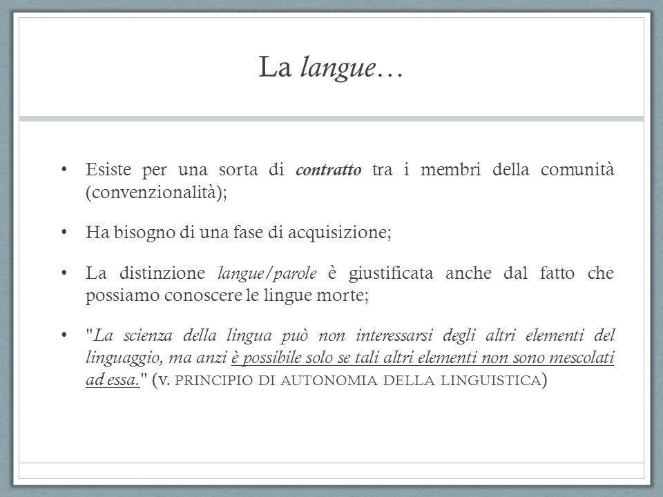 La langue… Esiste per una sorta di contratto tra i membri della comunità (convenzionalità); Ha bisogno di una fase di acquisizione; La distinzione lan