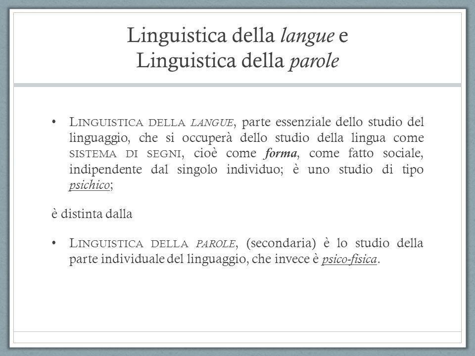 Linguistica della langue e Linguistica della parole L INGUISTICA DELLA LANGUE, parte essenziale dello studio del linguaggio, che si occuperà dello stu