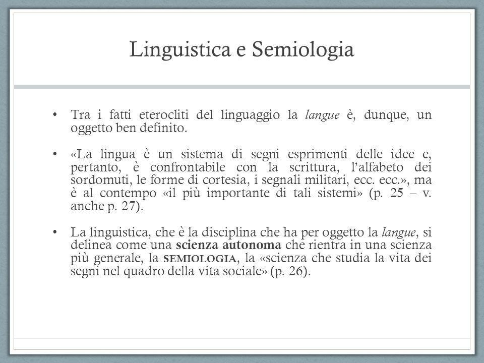 Linguistica e Semiologia Tra i fatti eterocliti del linguaggio la langue è, dunque, un oggetto ben definito. «La lingua è un sistema di segni esprimen