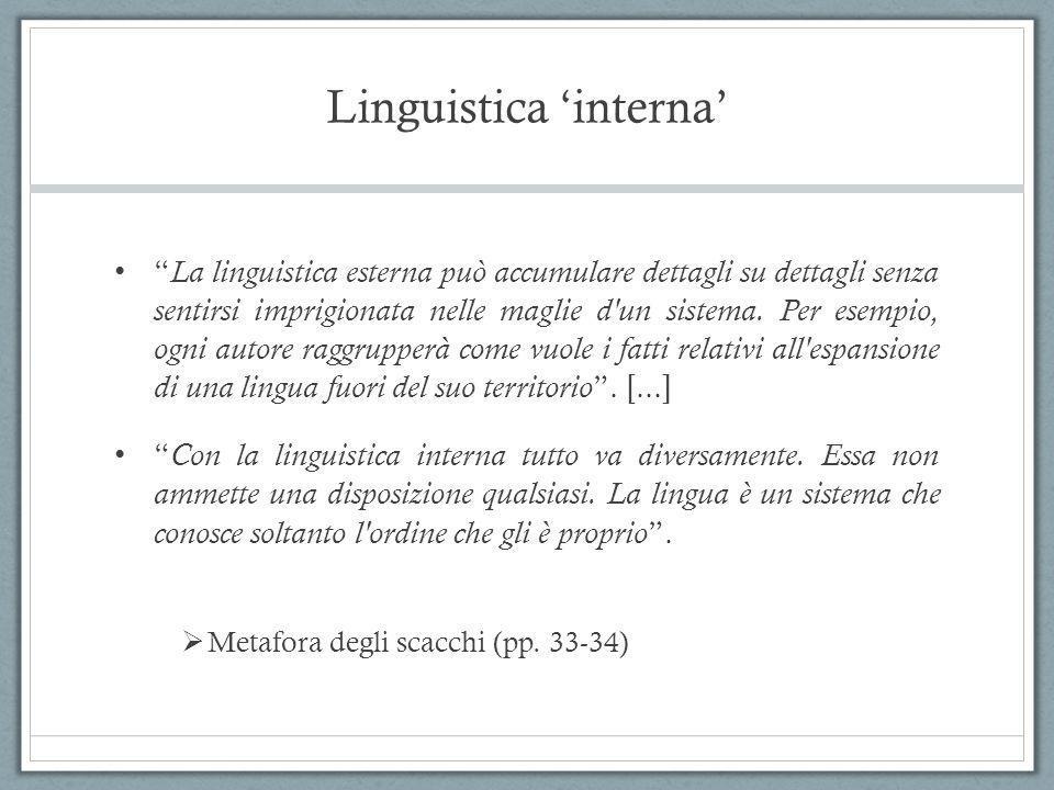 """Linguistica 'interna' """" La linguistica esterna può accumulare dettagli su dettagli senza sentirsi imprigionata nelle maglie d'un sistema. Per esempio,"""