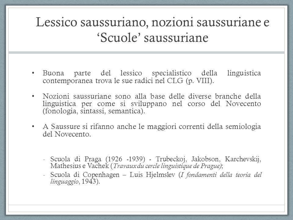 Lessico saussuriano, nozioni saussuriane e 'Scuole' saussuriane Buona parte del lessico specialistico della linguistica contemporanea trova le sue rad