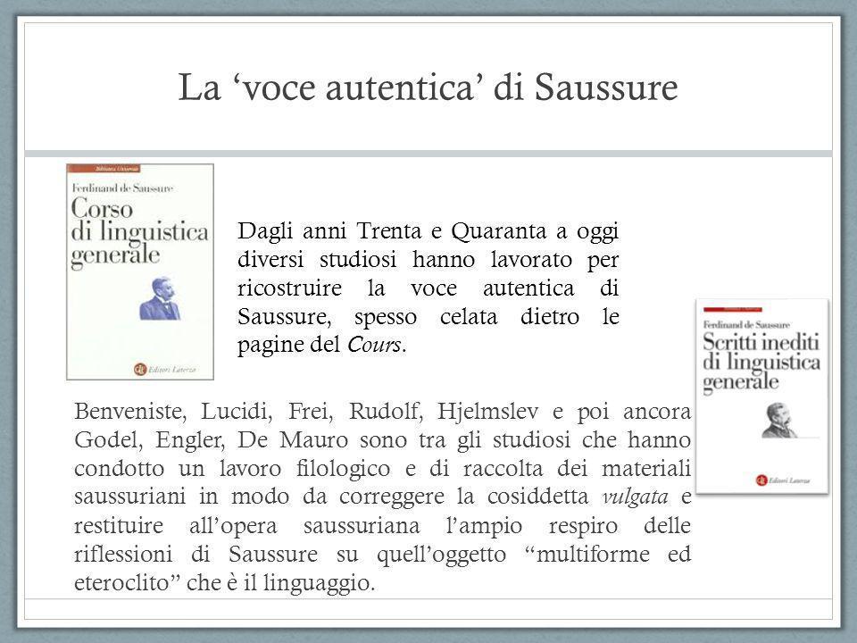 La 'voce autentica' di Saussure Benveniste, Lucidi, Frei, Rudolf, Hjelmslev e poi ancora Godel, Engler, De Mauro sono tra gli studiosi che hanno condo