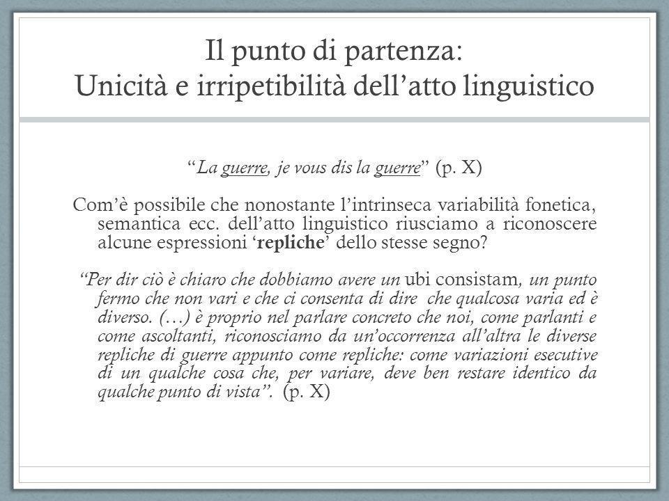 """Il punto di partenza: Unicità e irripetibilità dell'atto linguistico """" La guerre, je vous dis la guerre """" (p. X) Com'è possibile che nonostante l'intr"""
