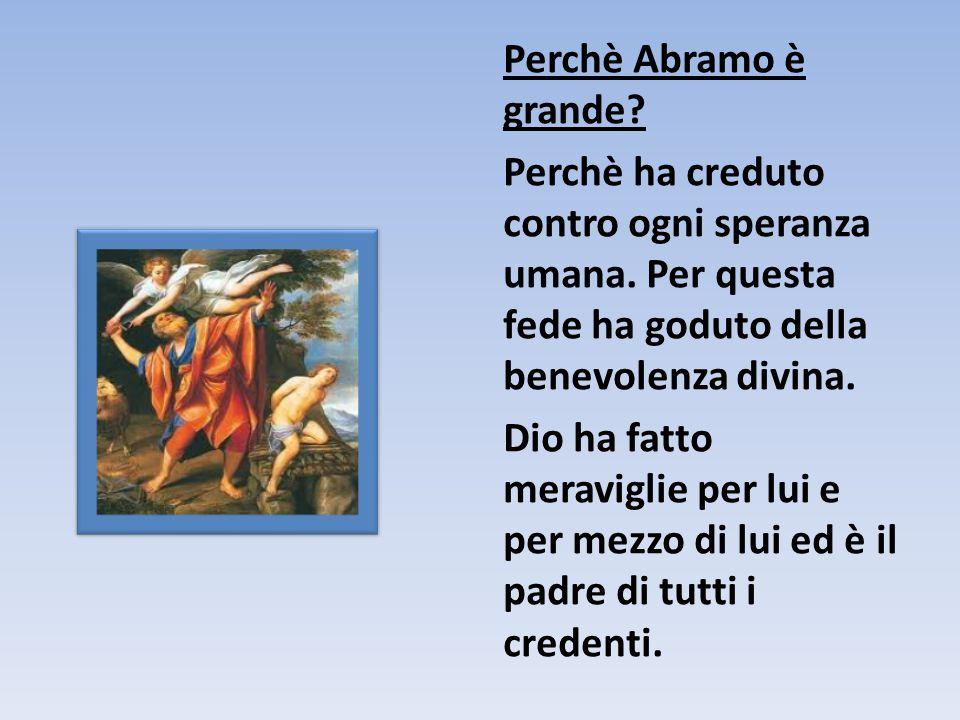 Perchè Abramo è grande? Perchè ha creduto contro ogni speranza umana. Per questa fede ha goduto della benevolenza divina. Dio ha fatto meraviglie per