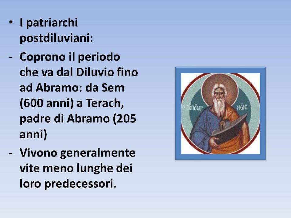 I patriarchi postdiluviani: -Coprono il periodo che va dal Diluvio fino ad Abramo: da Sem (600 anni) a Terach, padre di Abramo (205 anni) -Vivono gene
