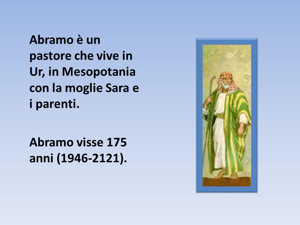 Abramo è un pastore che vive in Ur, in Mesopotania con la moglie Sara e i parenti. Abramo visse 175 anni (1946-2121).