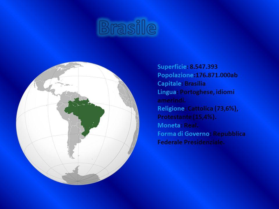 Superficie: 8.547.393 Popolazione:176.871.000ab Capitale: Brasilia Lingua: Portoghese, idiomi amerindi. Religione: Cattolica (73,6%), Protestante (15,