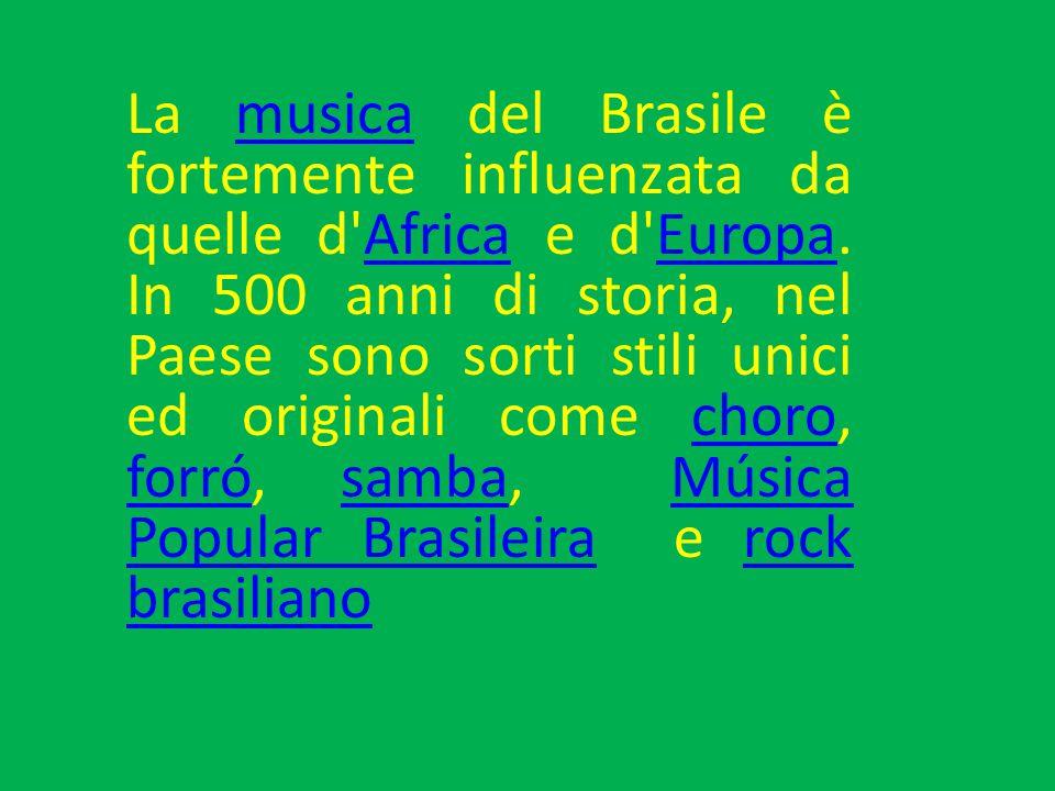 La musica del Brasile è fortemente influenzata da quelle d'Africa e d'Europa. In 500 anni di storia, nel Paese sono sorti stili unici ed originali com