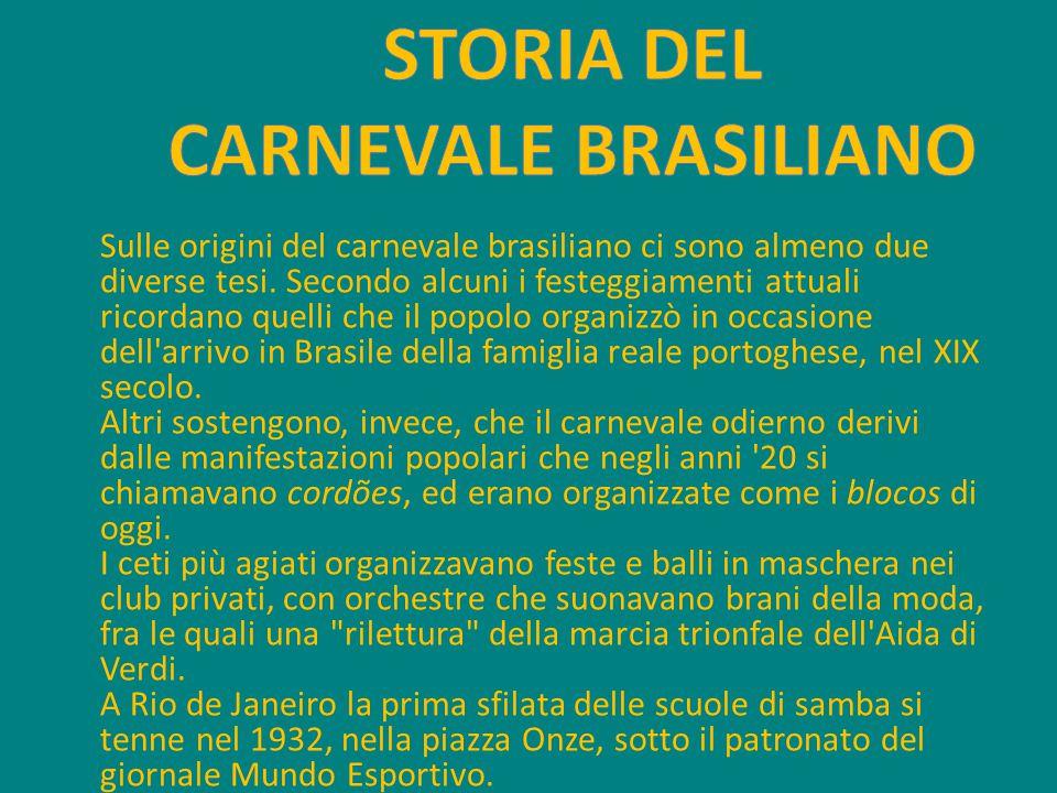 Sulle origini del carnevale brasiliano ci sono almeno due diverse tesi. Secondo alcuni i festeggiamenti attuali ricordano quelli che il popolo organiz