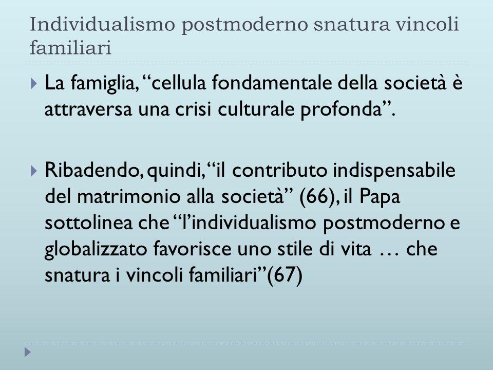 Individualismo postmoderno snatura vincoli familiari  La famiglia, cellula fondamentale della società è attraversa una crisi culturale profonda .