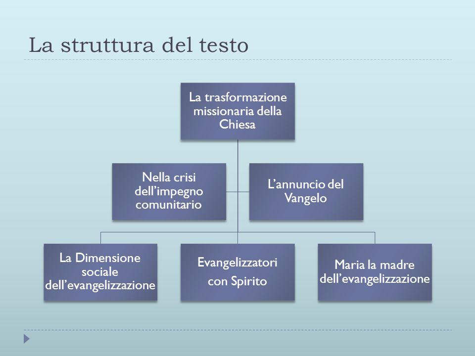 La struttura del testo La trasformazione missionaria della Chiesa La Dimensione sociale dell'evangelizzazione Evangelizzatori con Spirito Maria la mad