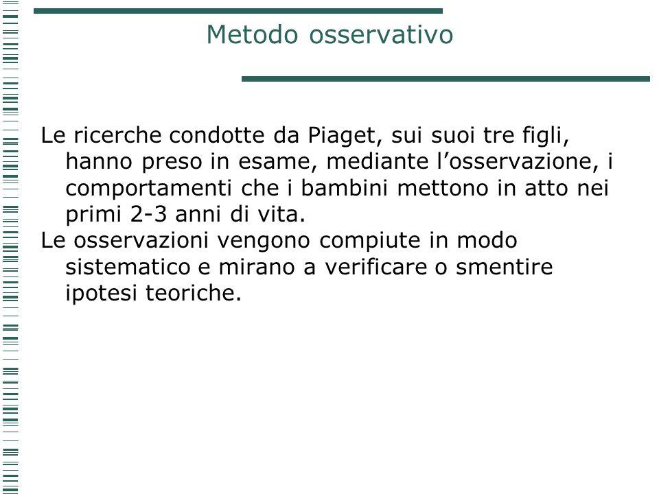 Metodo osservativo Le ricerche condotte da Piaget, sui suoi tre figli, hanno preso in esame, mediante l'osservazione, i comportamenti che i bambini me