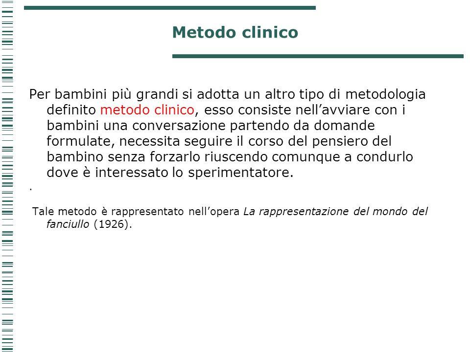 Metodo clinico Per bambini più grandi si adotta un altro tipo di metodologia definito metodo clinico, esso consiste nell'avviare con i bambini una con