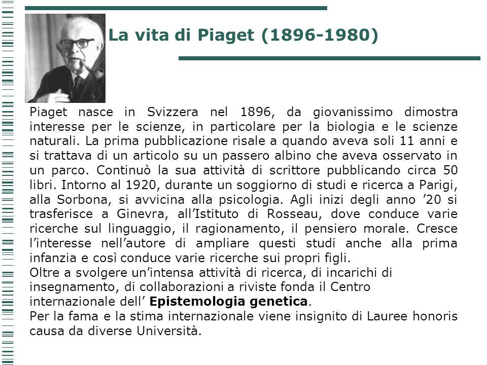 Piaget nasce in Svizzera nel 1896, da giovanissimo dimostra interesse per le scienze, in particolare per la biologia e le scienze naturali. La prima p