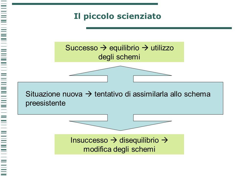 Il piccolo scienziato Situazione nuova  tentativo di assimilarla allo schema preesistente Successo  equilibrio  utilizzo degli schemi Insuccesso 